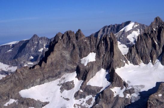 Au sommet de la Roche Faurio, vue sur le Râteau, La Meije et la Grande Ruine