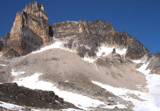 Passage au pied du Cheval Blanc pour rejoindre les lacs des Glaciers