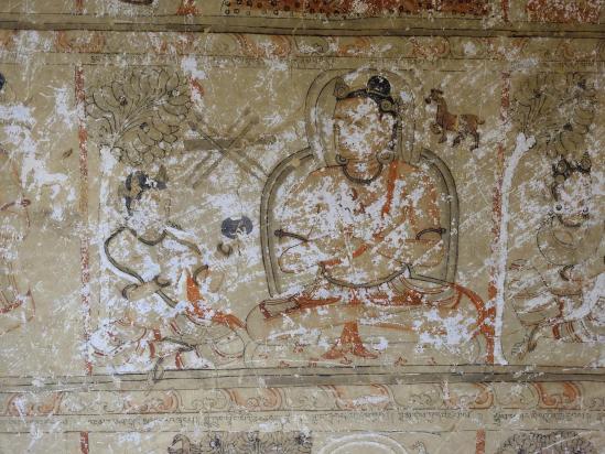 Détail de la fresque murale de la grotte de Konchok Ling