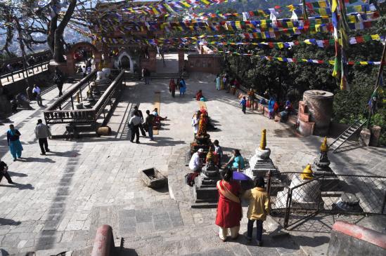 A Kathmandu, le temple perché de Swayambunath