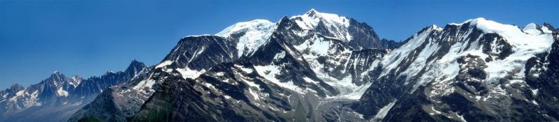 Le massif du Mont-Blanc du l'aiguille du Chardonnet à Trélatête