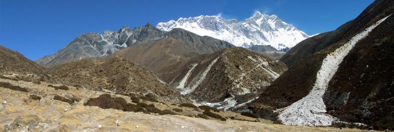 Sagarmatha, Nuptse et Lhotse vus depuis la yersa d'Orsho