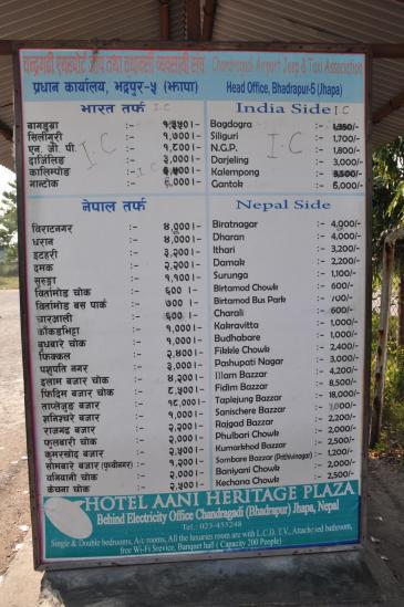 Tarifs bhadrapur taxi